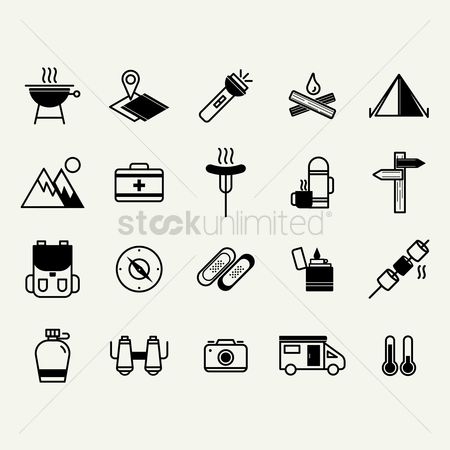 Medical : Camping and road trip icons