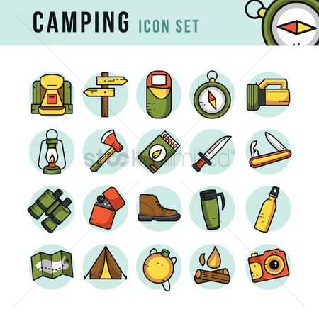Lighter : Camping icons set