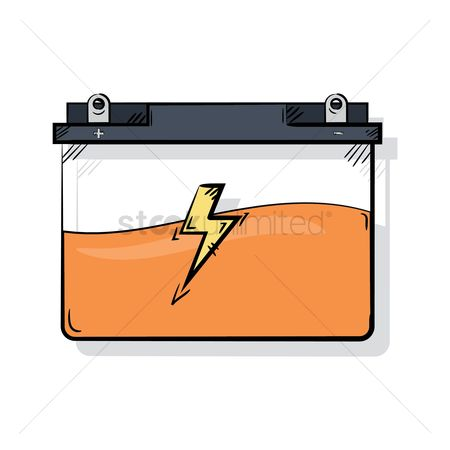 Electric cars : Car battery with high voltage sign