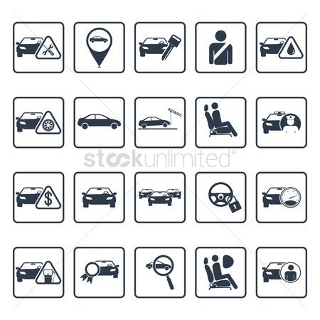 Car speedometer : Car servicing icons