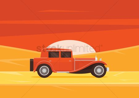 Journeys : Car traveling in desert