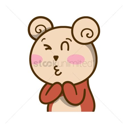 Teddybears : Cartoon bear winking and puckering lips