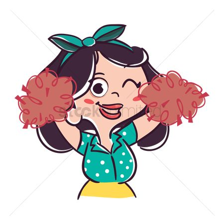 Cheering : Cartoon girl cheering