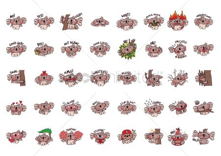 Eat : Cartoon koala bear expressions pack