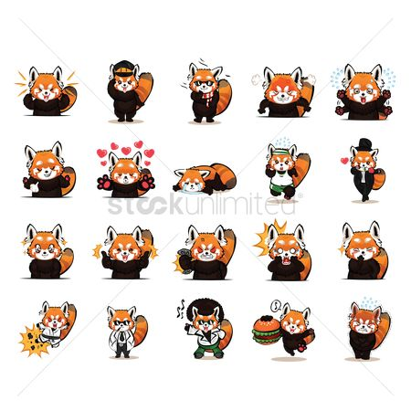Dancing : Cartoon red panda expressions pack