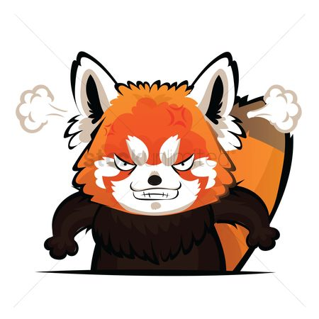 Annoy : Cartoon red panda feeling angry