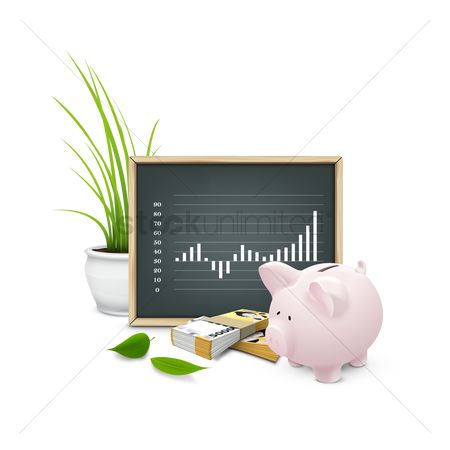 Blackboard : Chalkboard with money and piggy bank