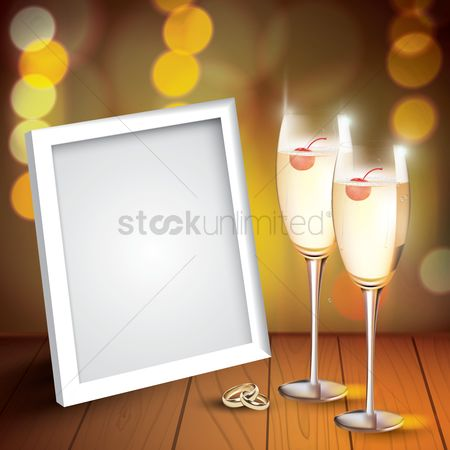 Champagnes : Champagne glasses with photo frame