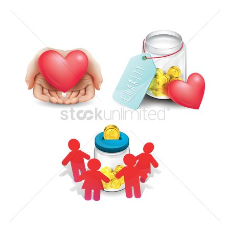 Heart shape : Charity concept icons