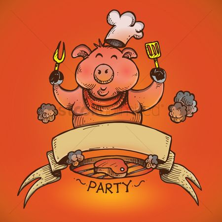 Fork : Chef pig cooking steak on barbecue grill