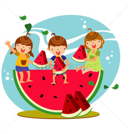 Watermelon slice : Children eating watermelon