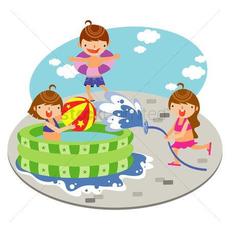 Swimsuit : Children playing in the inflatable swimming pool