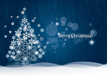 Season : Christmas greeting with snowflake tree