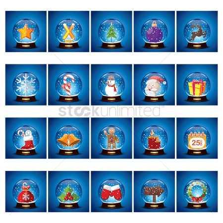 Santa : Christmas icons in crystal ball