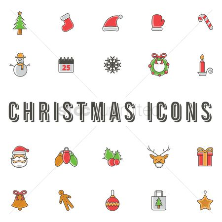 Mitten : Christmas icons set