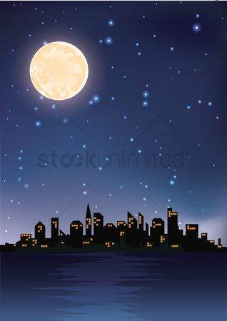 Lighting : City night view background