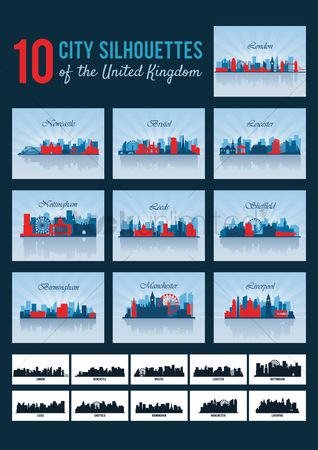 Towers : City silhouettes of united kingdom