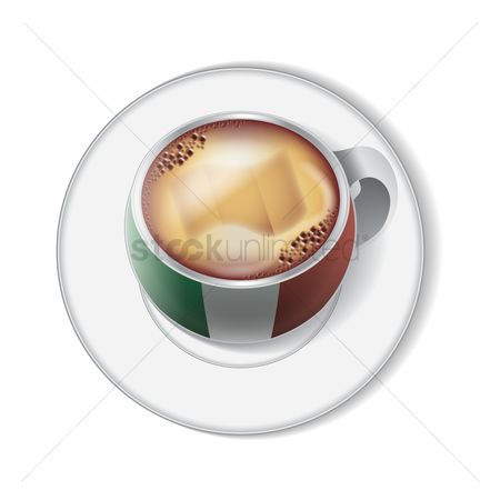 Crockery : Coffee cup with italy flag decoration