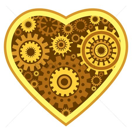 Casinos : Cogwheels in heart symbol