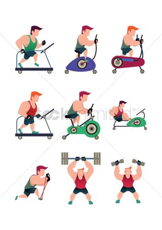 Stationary : Collection of a muscular man working out