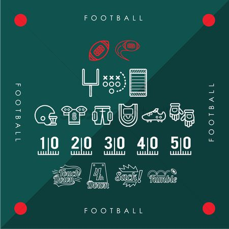 Recreation : Collection of american football icons