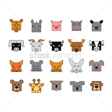 No : Collection of animal head