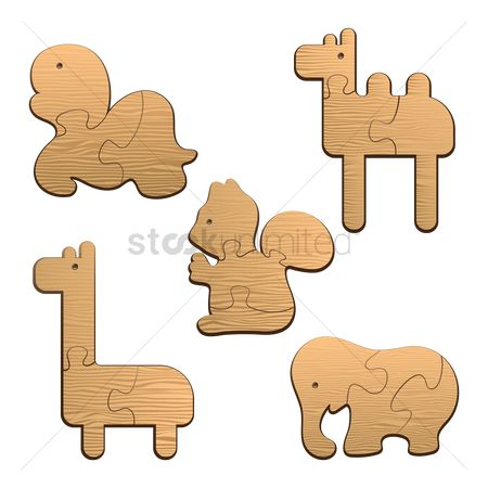 Recreation : Collection of animal wood puzzles