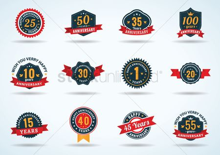 Badge : Collection of anniversary labels