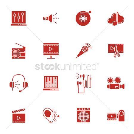 Icons news : Collection of audio icons