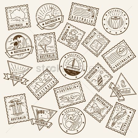 Surfboards : Collection of australia postage stamps