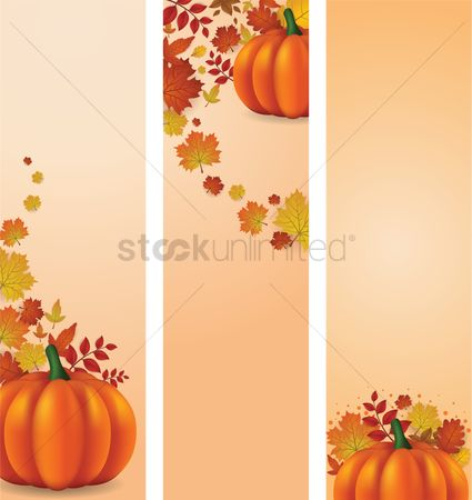 Fruit : Collection of autumn themed banners