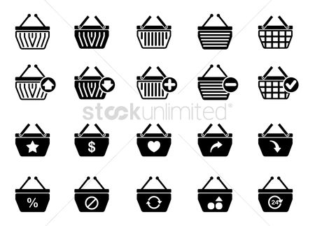 Favourites : Collection of basket icons