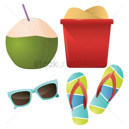 Slippers : Collection of beach items