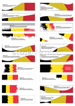 Belgium : Collection of belgium flag banner