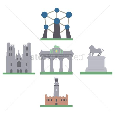 Belgium : Collection of belgium monuments icons