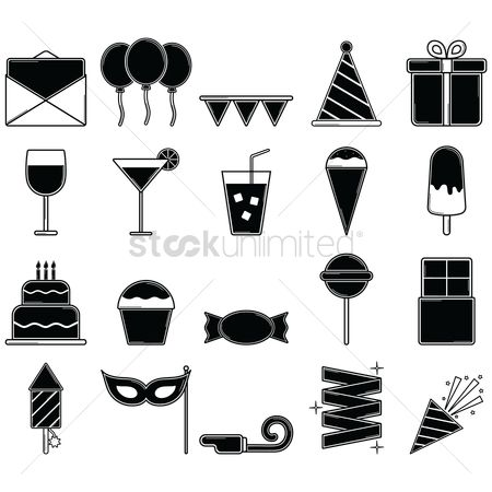 Confectionery : Collection of birthday party icons