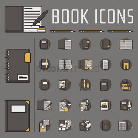 Notebooks : Collection of book icons