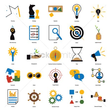 Magnifying : Collection of business icons