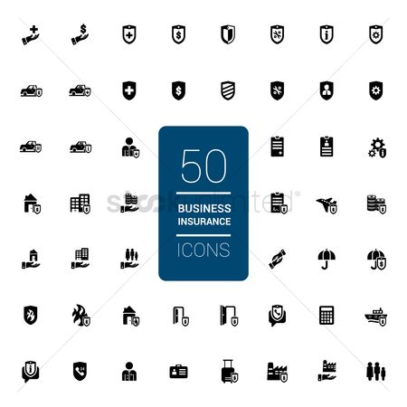 Shield : Collection of business insurance icons