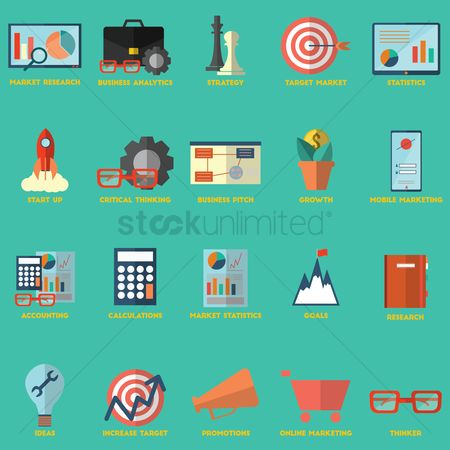 Market : Collection of business strategy icons