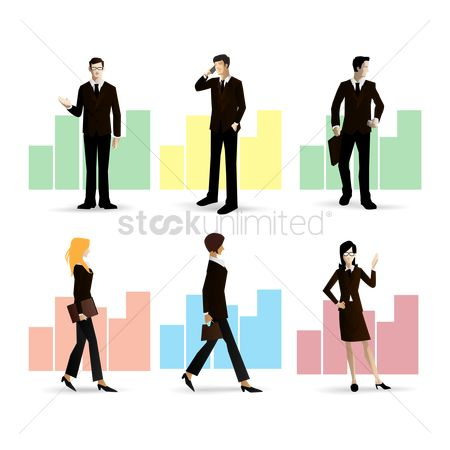 Workers : Collection of businessman and businesswoman