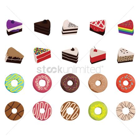 Red : Collection of cakes and donuts
