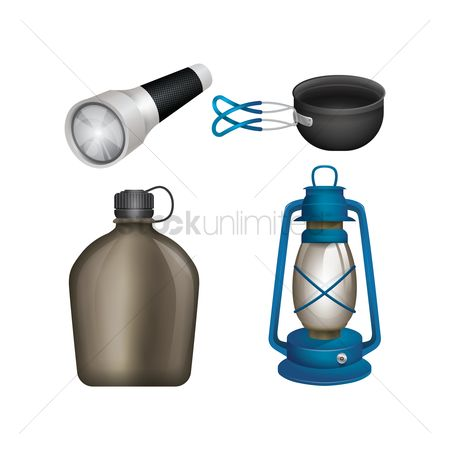 Flashlight : Collection of camping equipment