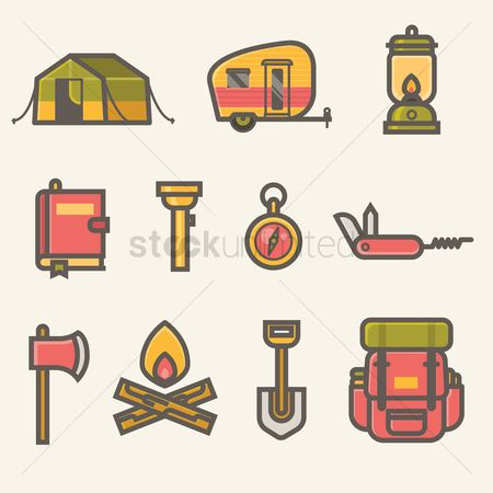 Wheel : Collection of camping icons