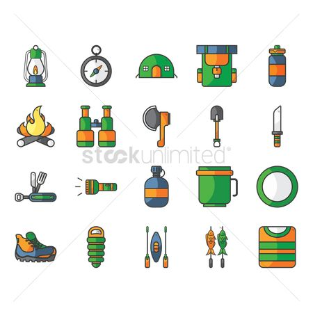 Torch : Collection of camping icons