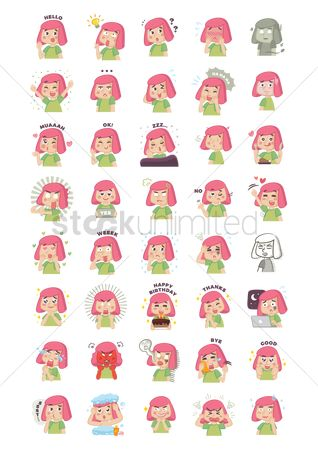 Red : Collection of cartoon girl with expressions
