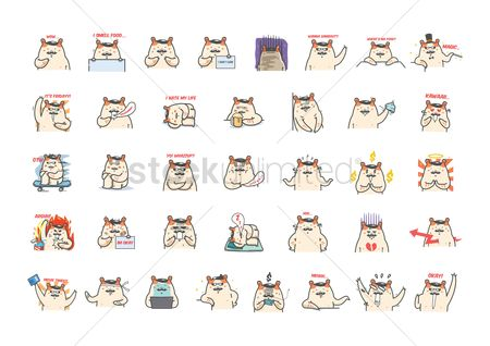 Cup : Collection of cartoon hamster expressions