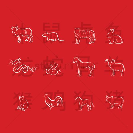 Traditions : Collection of chinese zodiac animals