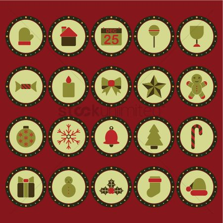 Mitten : Collection of christmas button