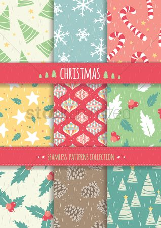 Patterns : Collection of christmas seamless patterns